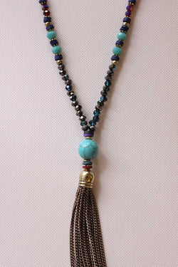 Turquoise Stone Chain Tassel Necklace