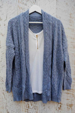 Rocio Cable Wool Cardi Blue