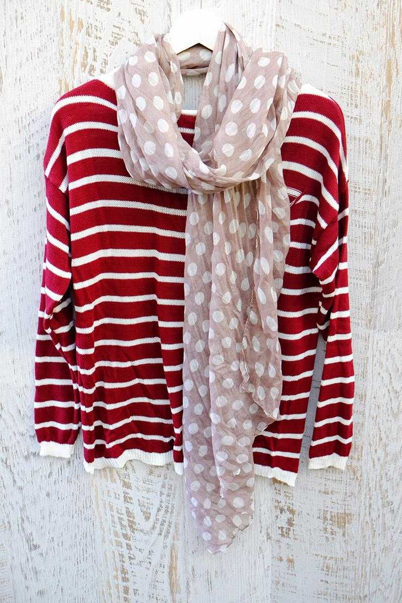 Valentina Striped Wool Top Red