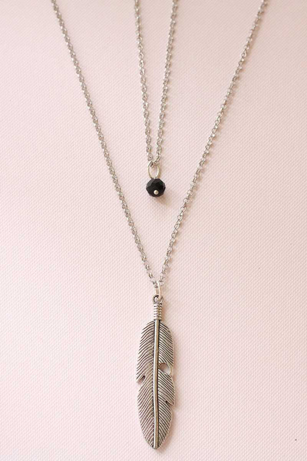 Feather Double Chain Necklace