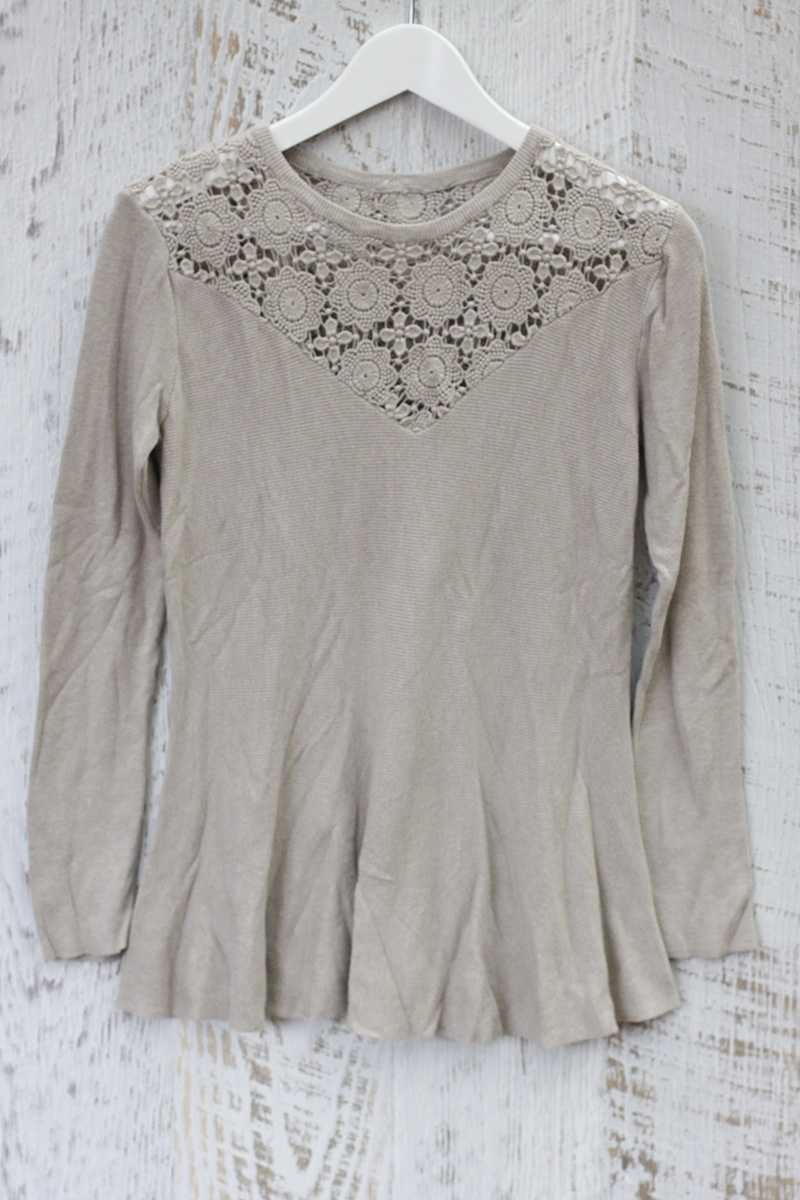 Raquel Cut Out Wool Top Beige