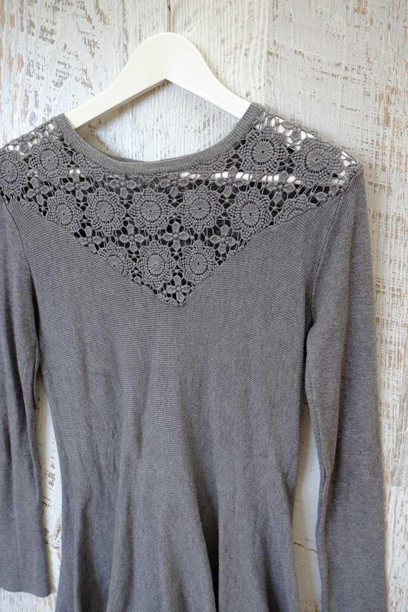 Raquel Cut Out Wool Top Gray