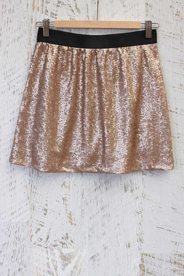 Tabitha Sequin Mini Skirt Gold
