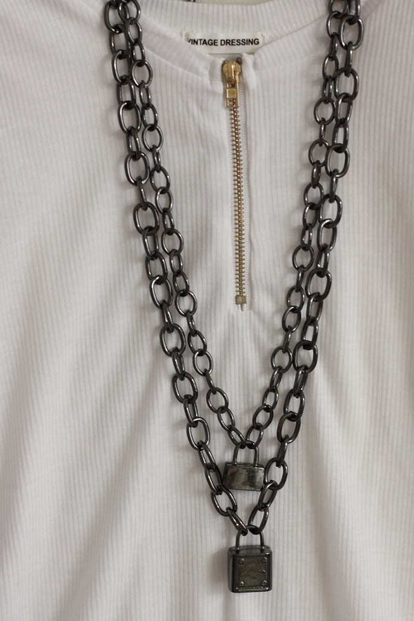 Double Chain Necklace With Locks - Talis Collection