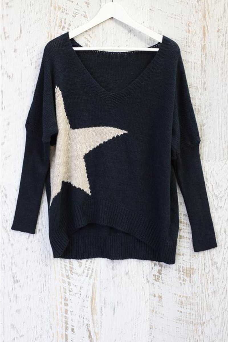 Star Oversized Wool Knit Top
