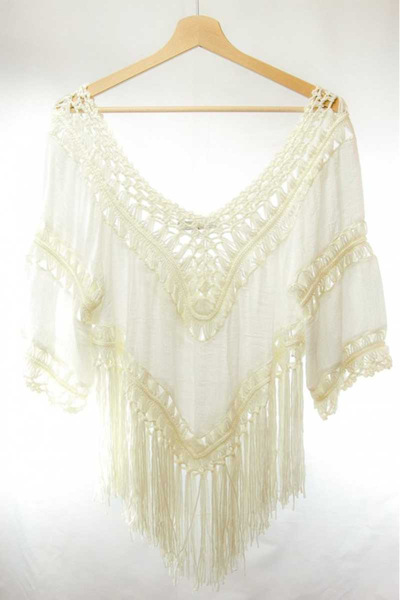 Camita Crochet Cape with Fringing - Talis Collection