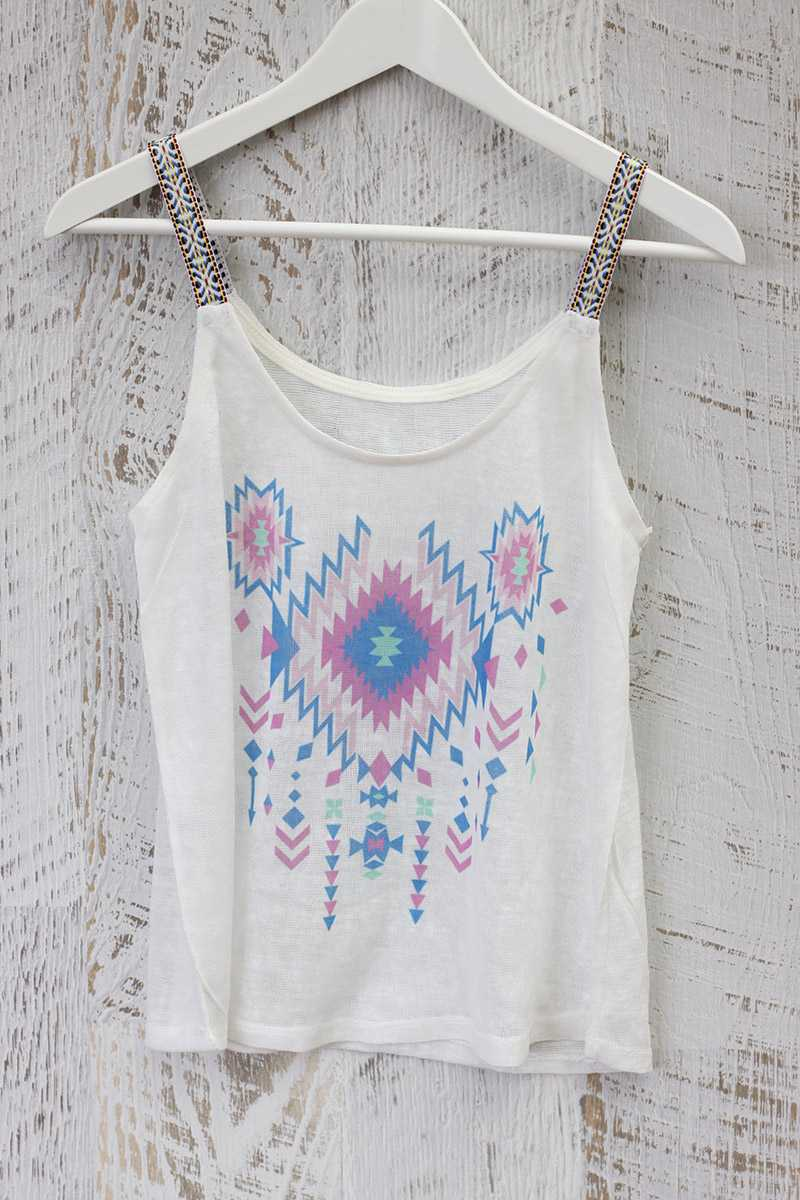 Leonor Tribal Print Vest Knit Top