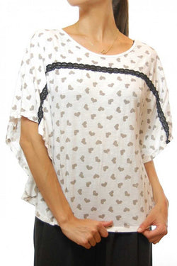 Devera Heart Print Batwing Top - Talis Collection