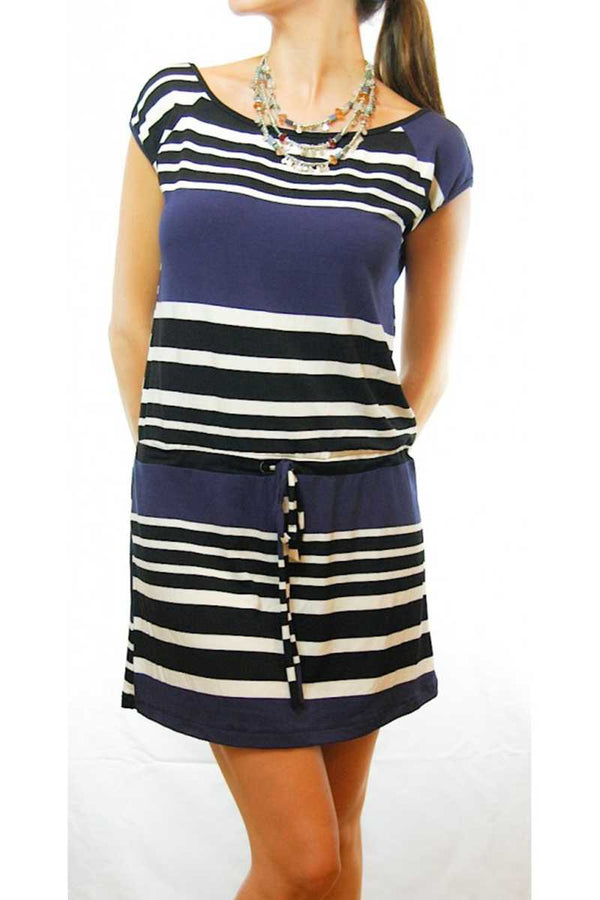 Adela Striped Dress with A Tied Waist - Talis Collection
