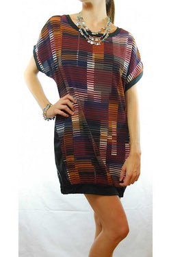 Alita Illusion Print Dress with Leather Trim - Talis Collection
