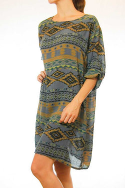 Iliana Tribal Print Roll Sleeve Shift Dress Gray
