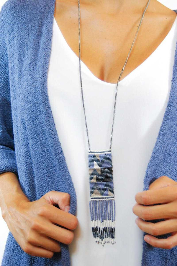 Lalia Tribal Pattern Pendant Long Necklace