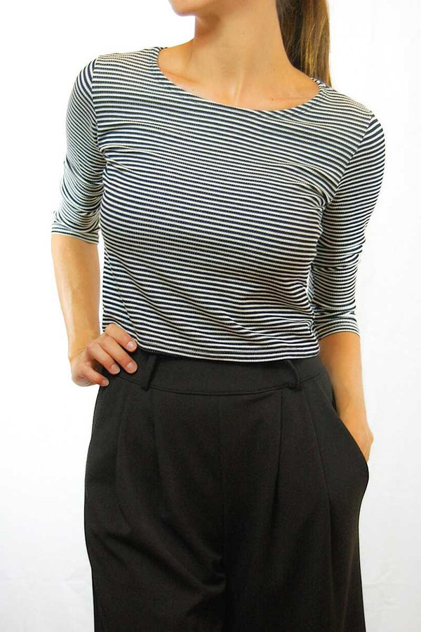 Noemi 1/2 Sleeve Stripped Crop Top