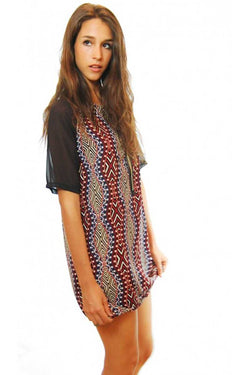 Alondra Short Sleeve Tribal Print Shift Dress - Talis Collection