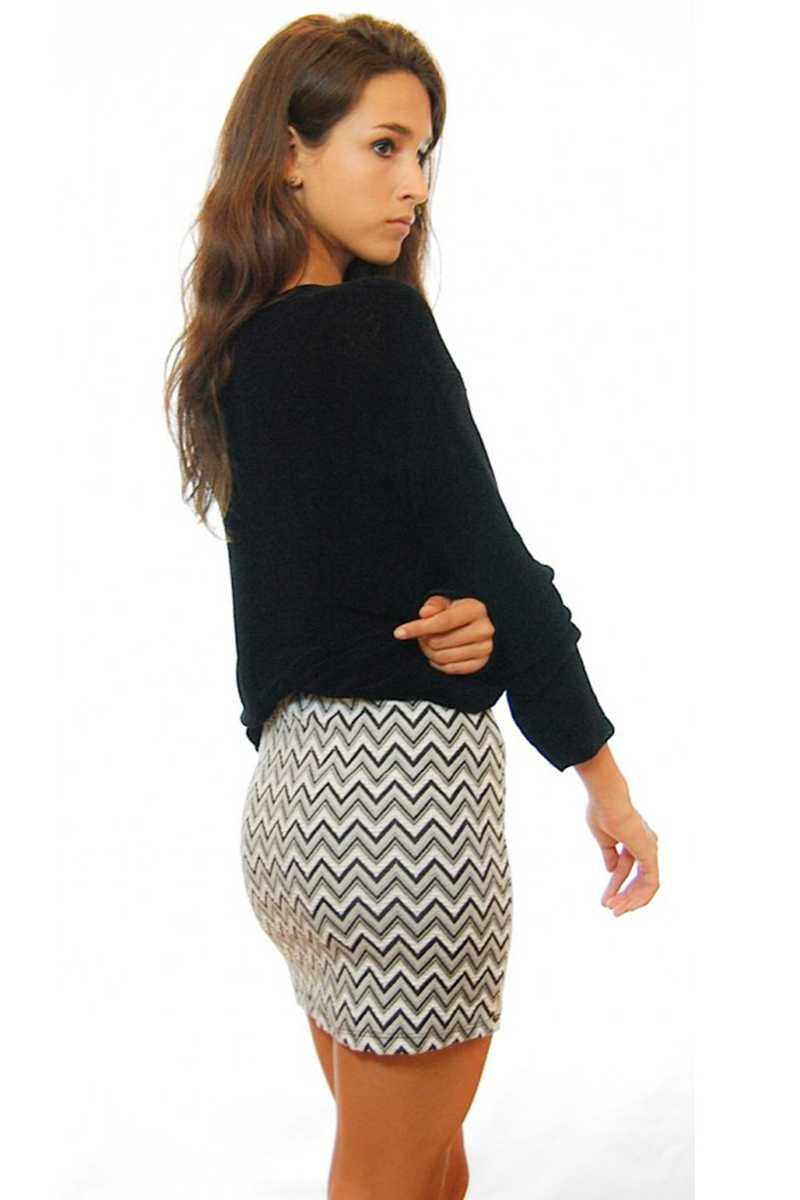 Rosalind Zig Zag Mini Pencil Skirt