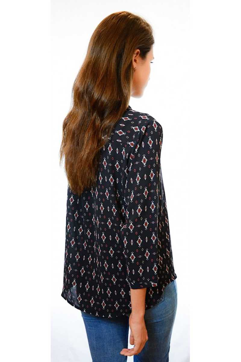 Catalina Diamond Print Shirt Navy - Talis Collection