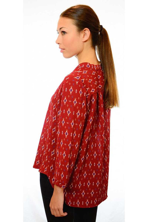 Catalina Diamond Print Shirt Red - Talis Collection