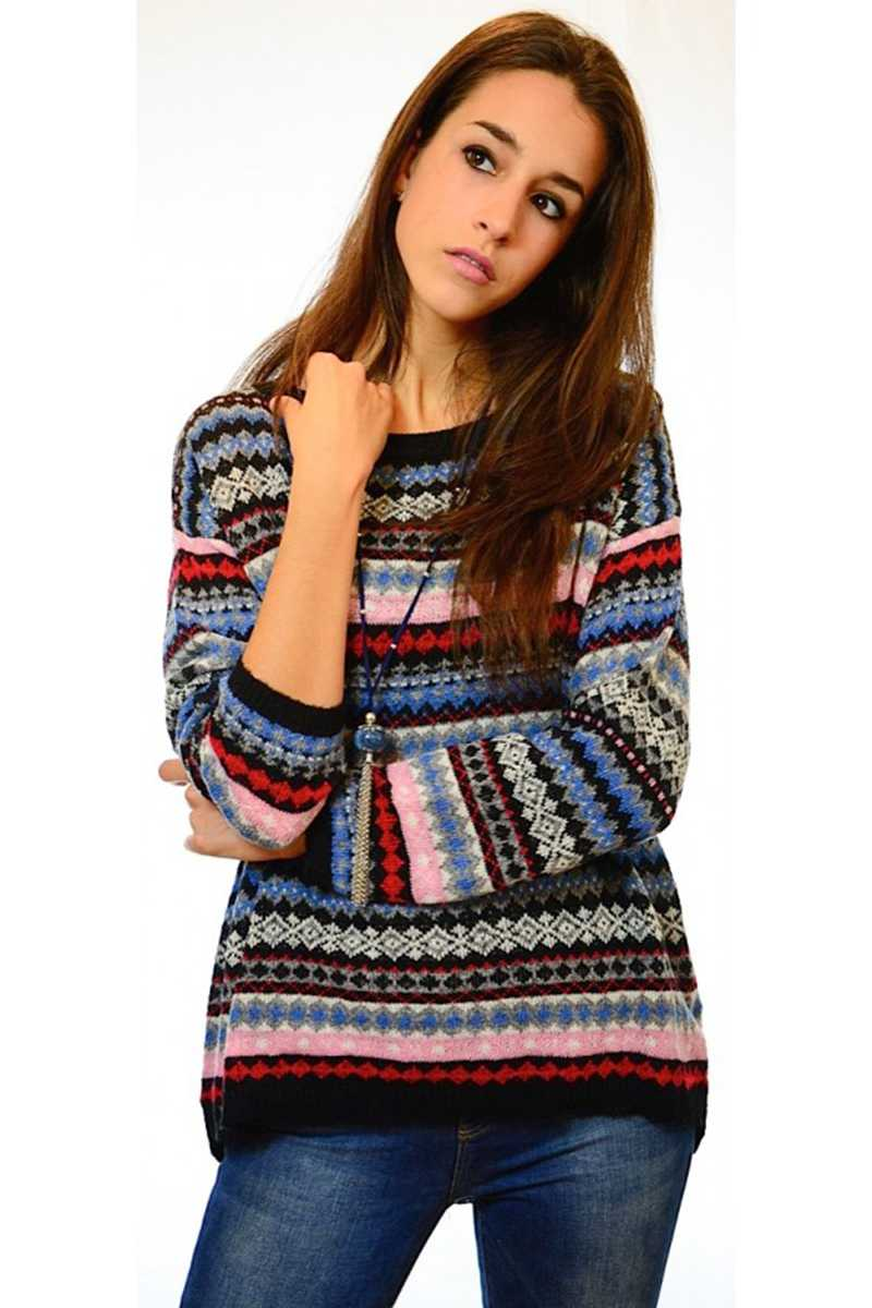 Veta Geo Print Wool Blend Sweater