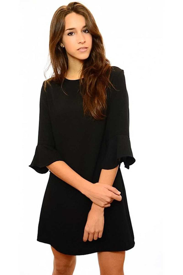 Fabiana Ruffle Sleeve Black Dress