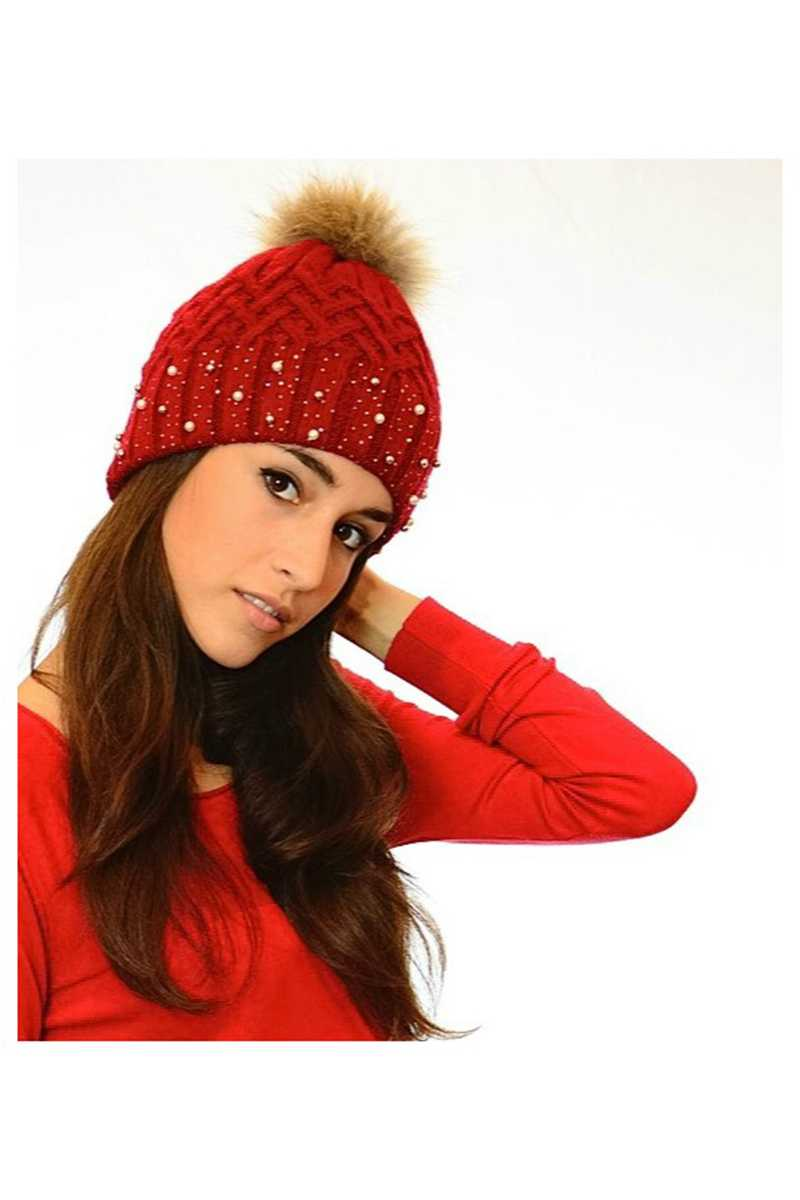 Alessandra Embellished Cable Pom Beanie - Talis Collection