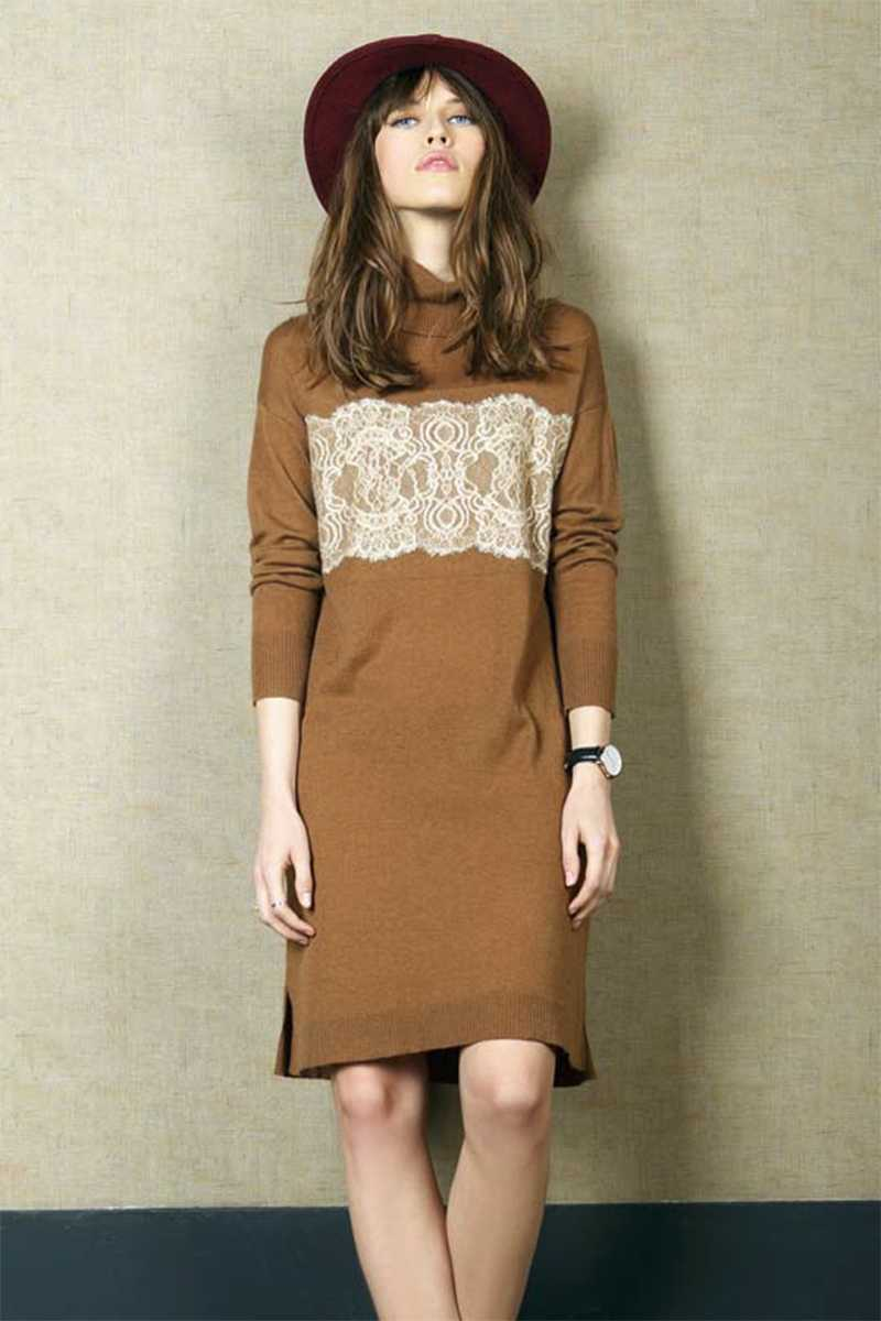 Indi and Cold Wool Dress Camel