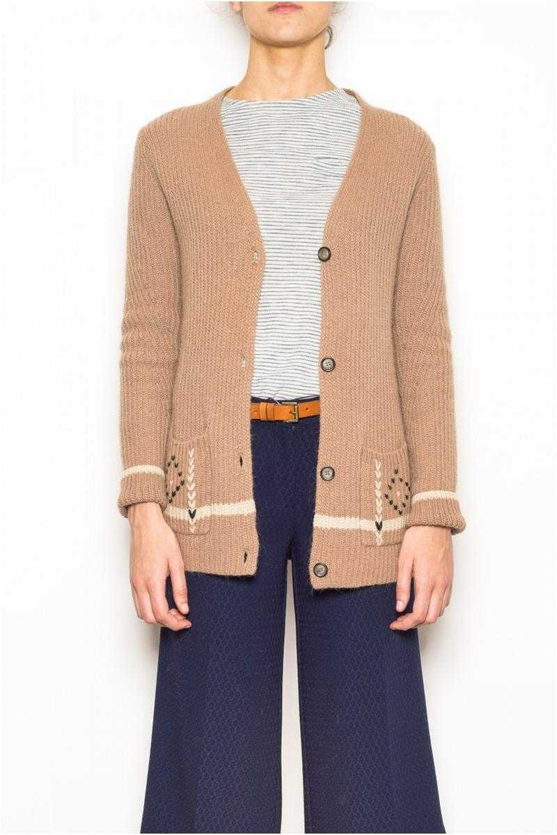 Indi and Cold Wool Blend Cardigan Camel