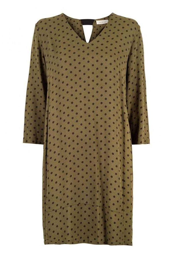 Indi and Cold Polka Dot Print Dress Khaki