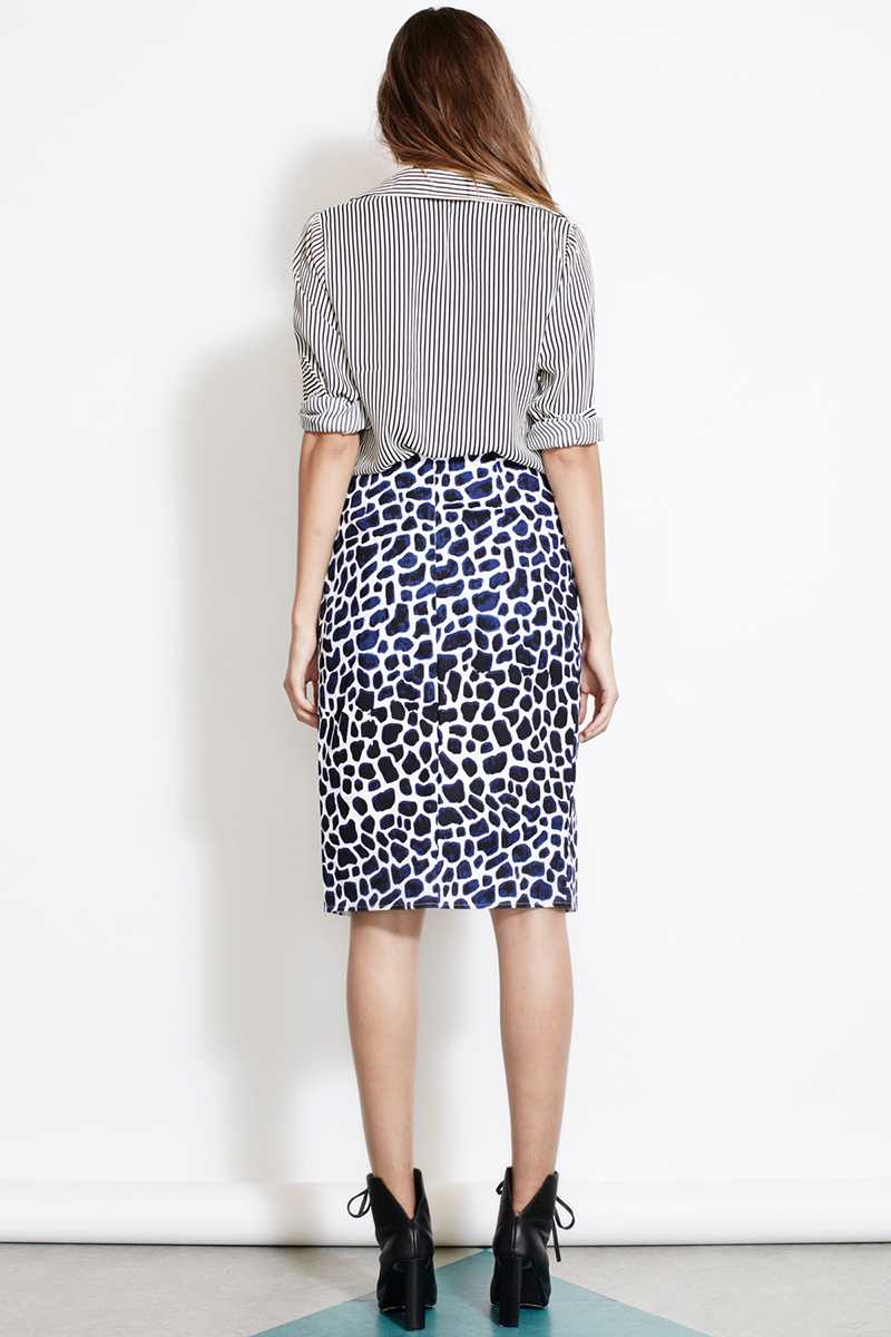 ISLA Indigo Blues Leopard Print Pencil Skirt