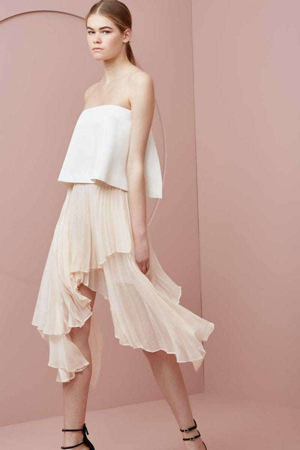 Keepsake Say You Will Pleated Skirt Sand