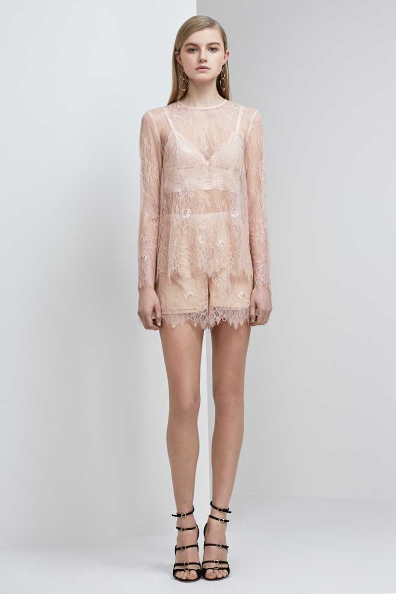 Keepsake Above Water Lace LS Top Rose