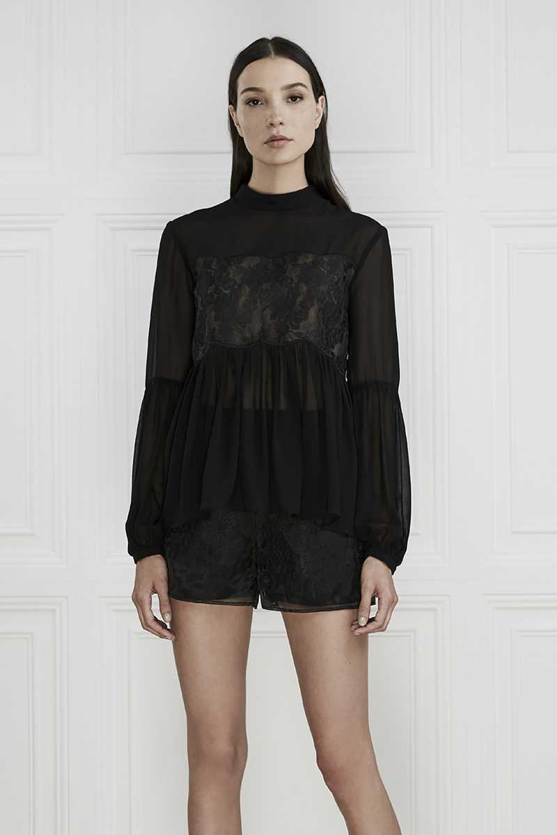 Keepsake Sundream Long Sleeve Lace Top Black