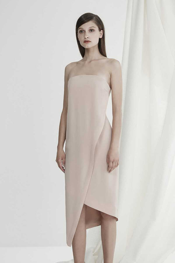 Keepsake Visionary Strapless Asym Dress Nude