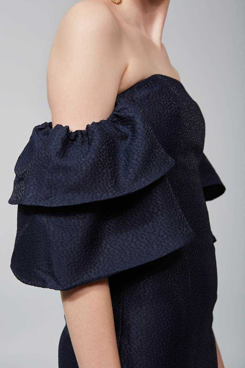Keepsake Magnolia Off Shoulder Dress Navy