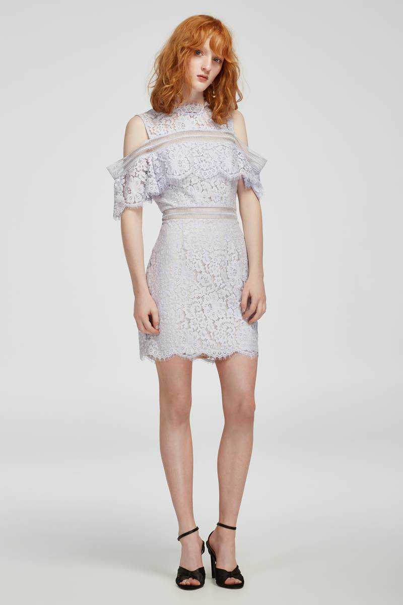 Keepsake Oblivion Lace Mini Dress Pale Blue