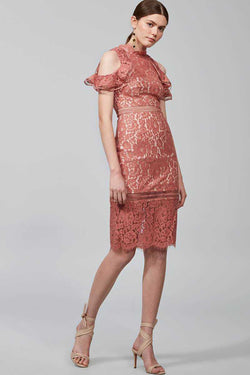 Keepsake Oblivion Lace Midi Dress Spice