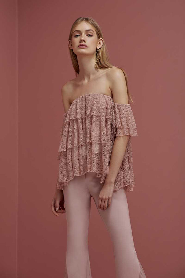 Keepsake Wide Awake Off Shoulder Lace Top Blush