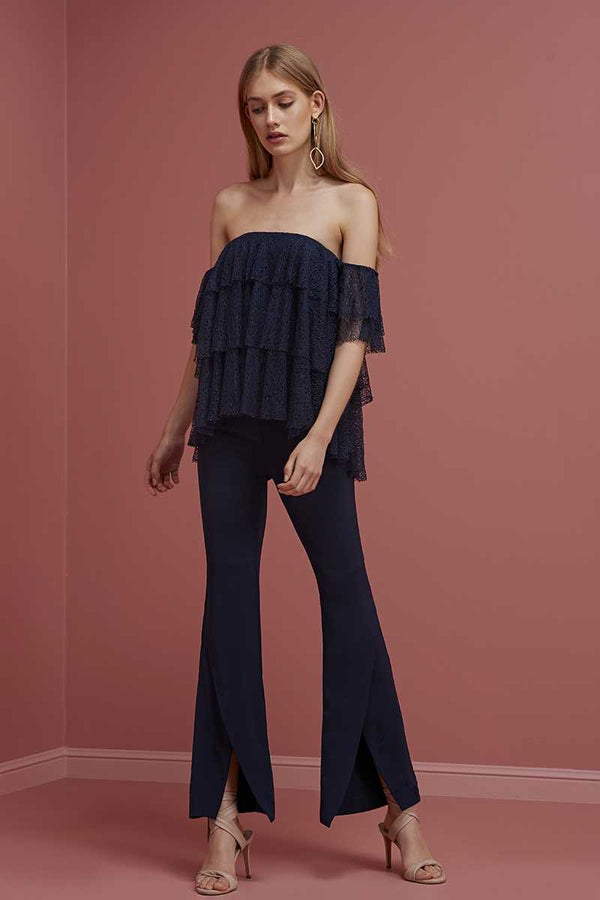 Keepsake Wide Awake Off Shoulder Lace Top Navy