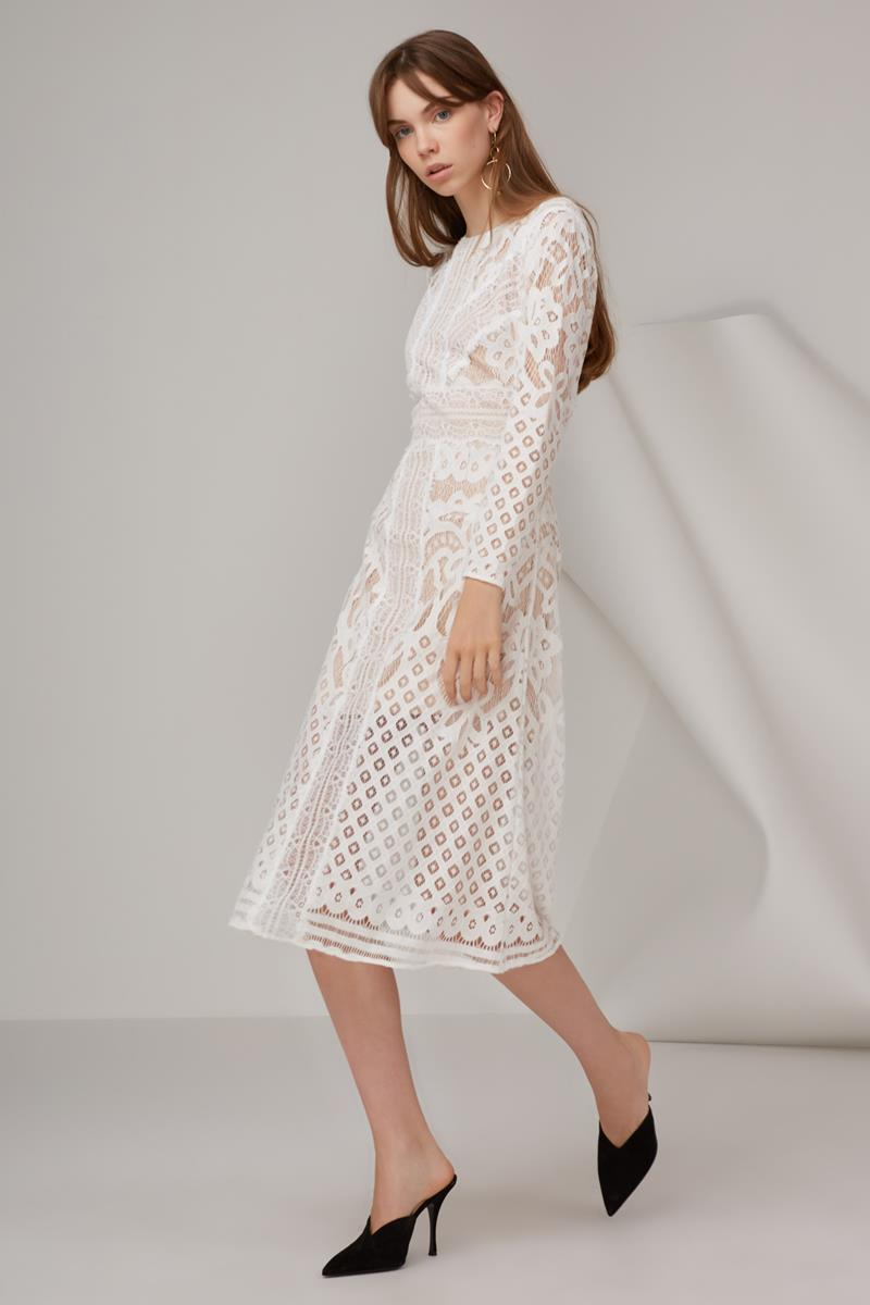 Keepsake Bridges Lace LS Dress Ivory