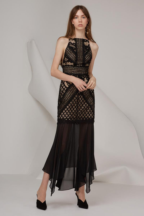 Keepsake Bridges Lace Maxi Gown Black