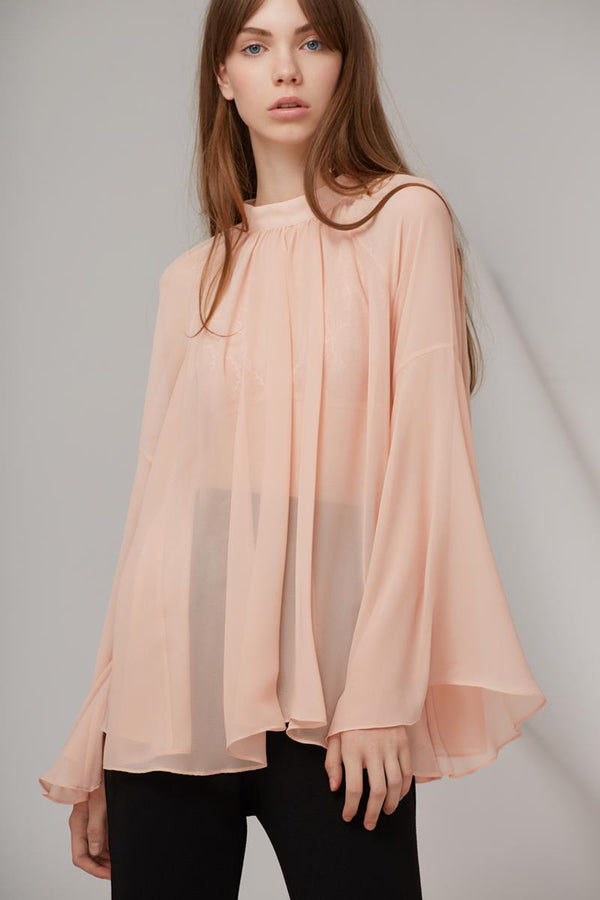 Keepsake Bridges Lace LS Top Blush