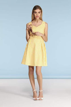 Louche London Gretta Chevron Sundress Yellow