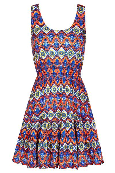 Louche London Latrelle Aztec Print Skater Dress