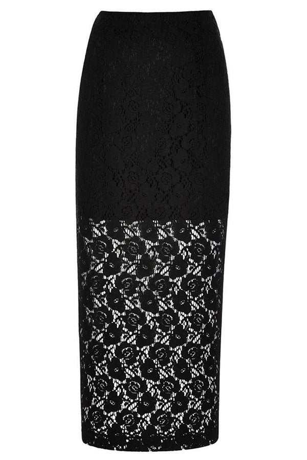 Louche Lace Maxi Cloud Skirt Black