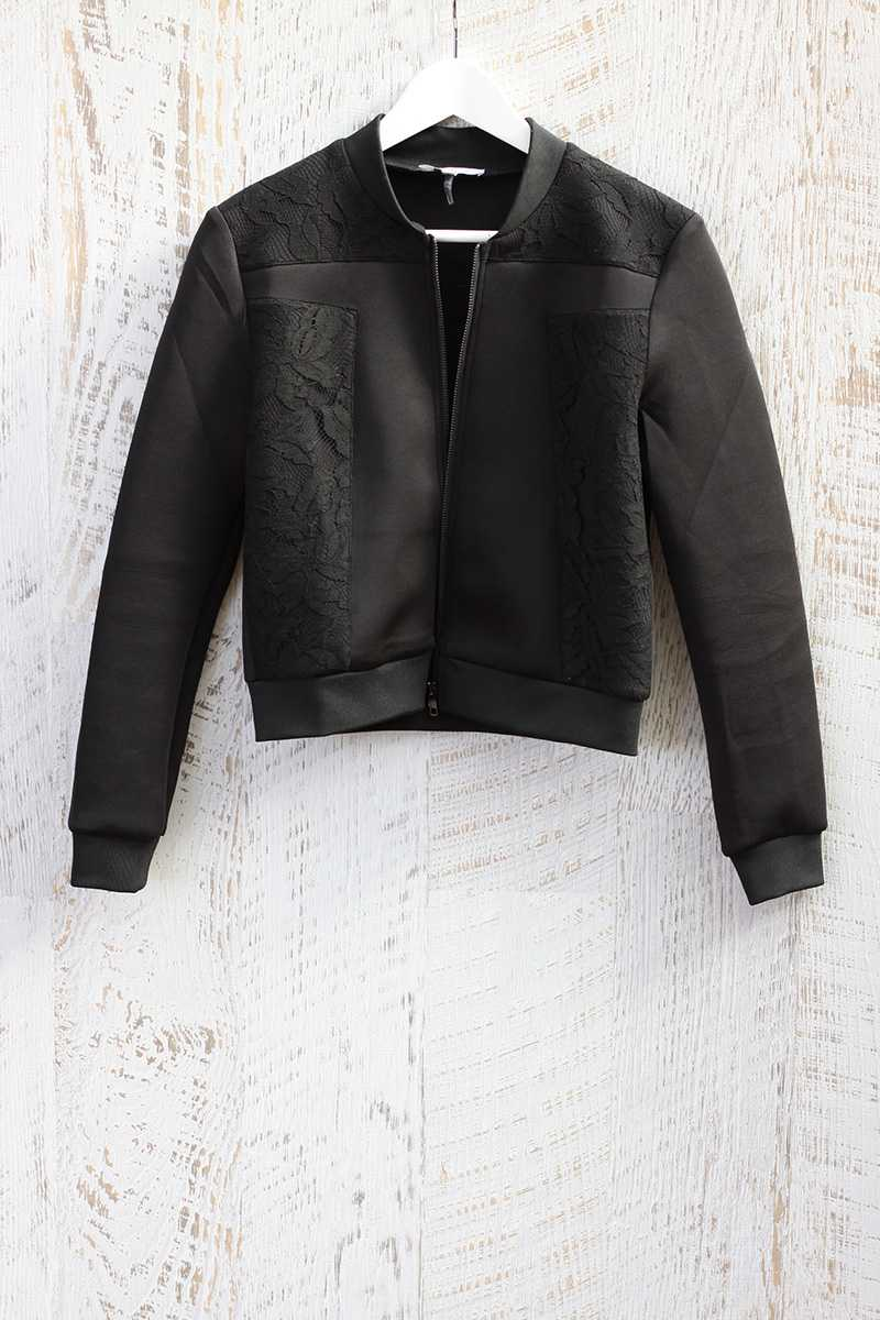 Lucy Paris Leoni Scuba and Lace Bomber Jacket