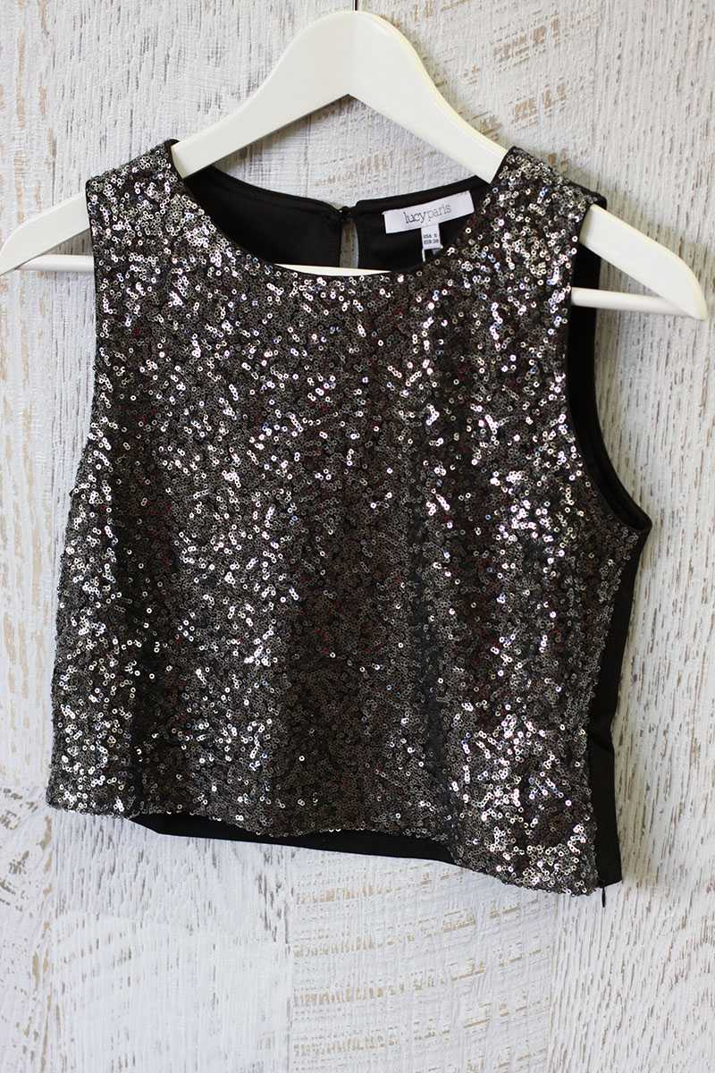 Lucy Paris Sequin Crop Shell Top