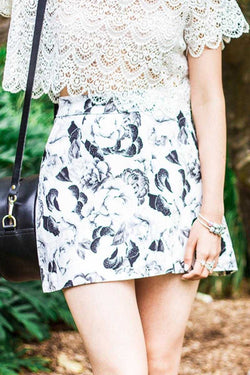 May the Label Pinacolada Skirt Camellia Black and White