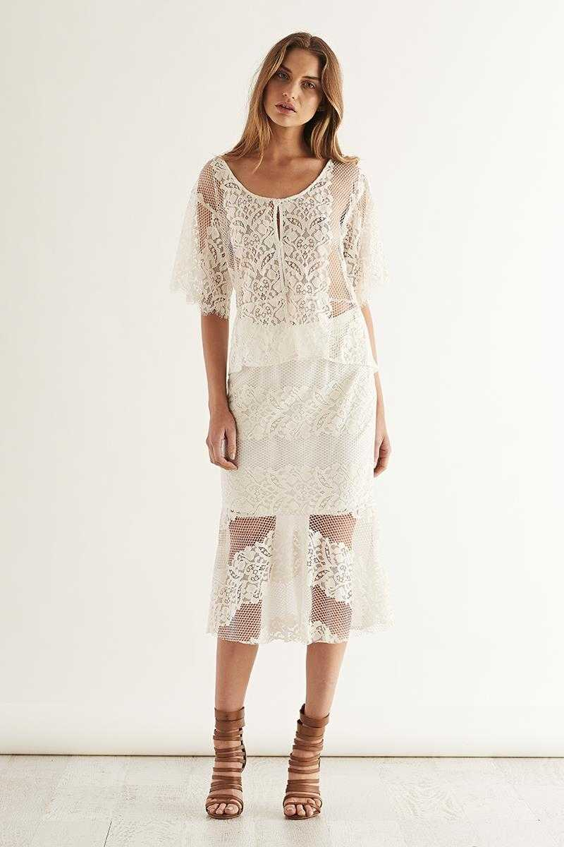 May the Label Let It Be Lace Midi Skirt
