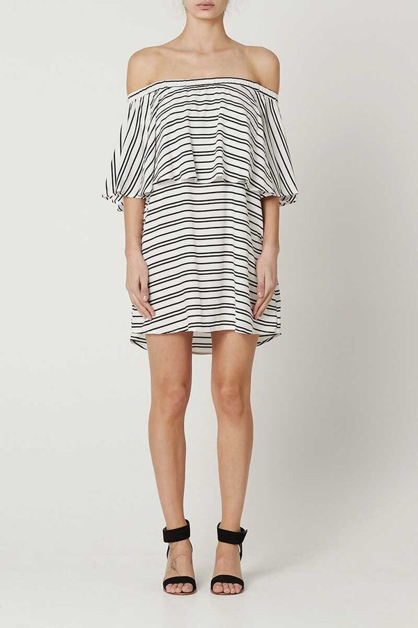 May the Label Valerie Off Shoulder Dress Stripe