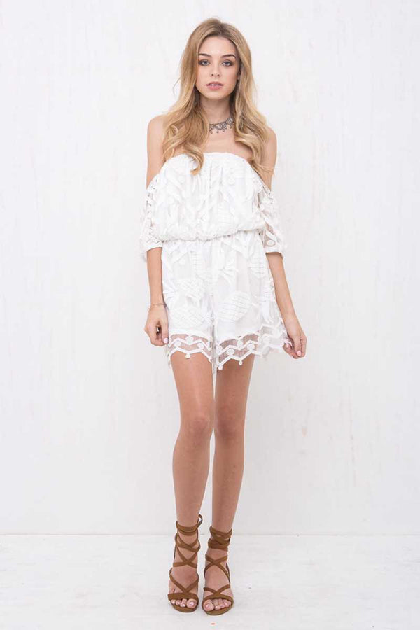 Morrisday Tropicana Off Shoulder Lace Playsuit