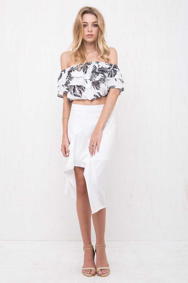 Morrisday Paradise Off Shoulder Crop Top